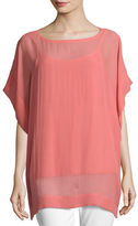 Eileen Fisher Bateau-Neck Sheer Silk Georgette Box Top