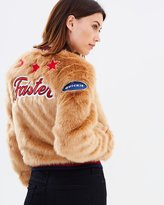 Mother Letterman Patch Fur Jacket