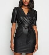 New Look Leather-Look Puff Sleeve Mini Wrap Dress