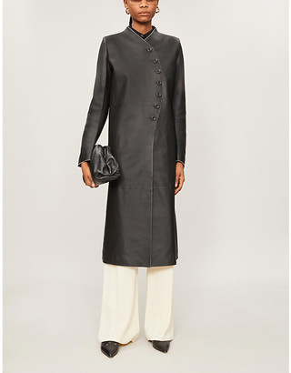 The Row Marion slim-fit leather coat