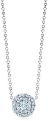 Kwiat 18kt white gold Sunburst diamond halo pendant necklace