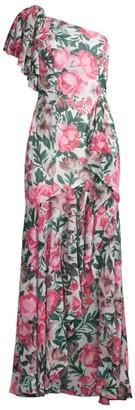 Fame & Partners Avenel Floral Ruffle One-Shoulder Dress