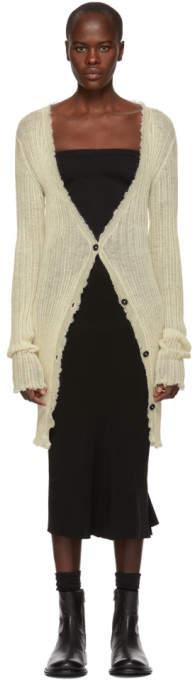 Ann Demeulemeester White Ashgate Ribbed Cardigan