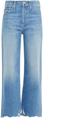 Mother The Rambler Distressed High-rise Wide-leg Jeans