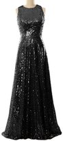 MACloth Women A Line Sequin Long Bridesmaid Dress Evening Formal Party Gown