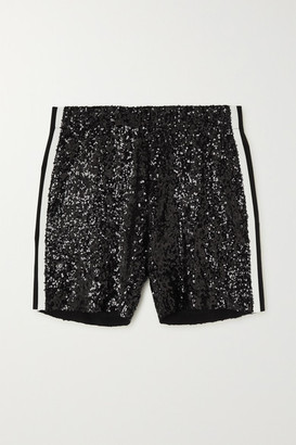 Norma Kamali Striped Sequined Tulle Shorts - Black