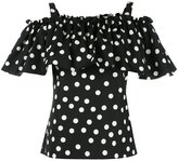 Dolce & Gabbana polka dot cold-shoulder top - women - Cotton - 44
