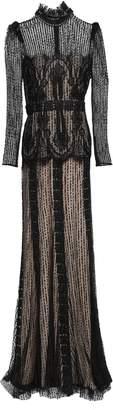 ZUHAIR MURAD Embellished Tulle Turtleneck Gown