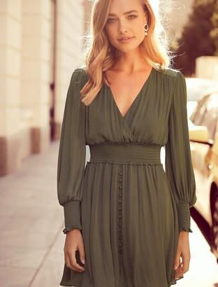 Forever New Evie Petite Long-Sleeved Dress - Khaki - 14