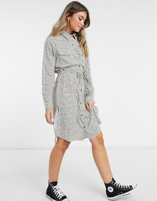 Brave Soul tie waist midi shirt dress in cream