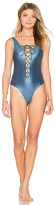 Bond Eye Quiver Reversible One Piece Swimsuit in Blue. - size US 4 / UK 8 (also in US 6 / UK 10,US 8 / UK 12)