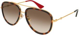 Gucci Metal Gradient Aviator Sunglasses, Gold/Brown