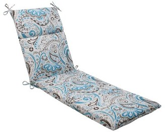 Winston Porter Tanveer Indoor/Outdoor Chaise Lounge Cushion Color: Gray / Turquoise