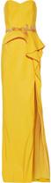 Marchesa Ruffled embellished crepe gown