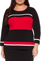 Liz Claiborne 3/4 Sleeve Crew Neck Pullover Sweater-Plus