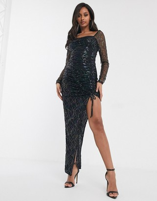 Pretty Darling sequin asymmetric ruched dress in black