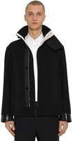 Jil Sander Straight Wool Jacket W/ Leather Details