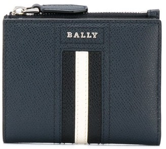Bally Grained Leather Stripe Wallet