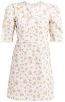 See by Chloe Puffed-sleeve Floral-print Cotton Mini Dress - Womens - Ivory Multi