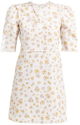See by Chloe Puff-sleeved Floral-print Cotton Mini Dress - Womens - Ivory Multi