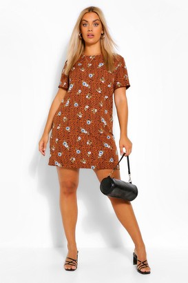 boohoo Plus Floral Animal Printed Shift Dress