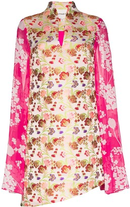 Shuting Qiu Floral-Print Silk Mini Dress