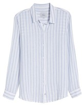 Rails Women's Sydney Vertical Shimmer Stripe Linen Blend Shirt
