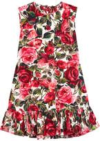 Dolce & Gabbana Ruffle-trimmed Floral-print Cotton-poplin Top - Pink