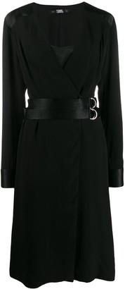 Karl Lagerfeld Paris pleated slip wrap dress