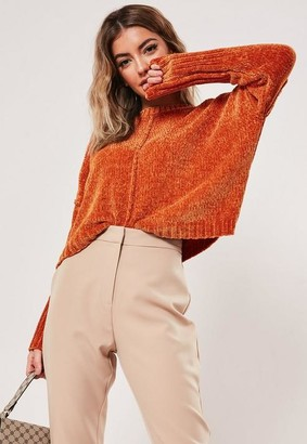 Missguided Orange Wide Sleeve Chenille Cropped Sweater