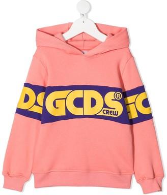 Gcds Kids Crew logo print hoodie