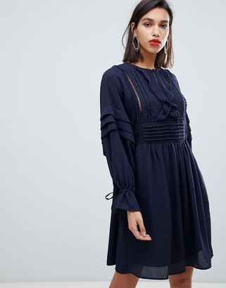 Y.A.S embroidered mini dress with button detail in navy