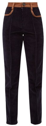 Wales Bonner Leather-trimmed Corduroy Slim-leg Trousers - Womens - Navy