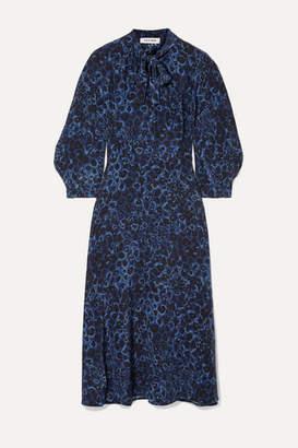 Cefinn - Camo Leopard-print Silk Crepe De Chine Midi Dress - Cobalt blue