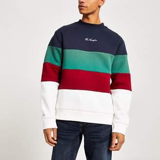 River Island Navy R96 colour block sweatshirt