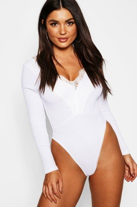 boohoo Long Sleeve Rib Lace Trim Bodysuit