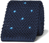 Dunhill 6cm Polka-dot Knitted Mulberry Silk Tie - Navy