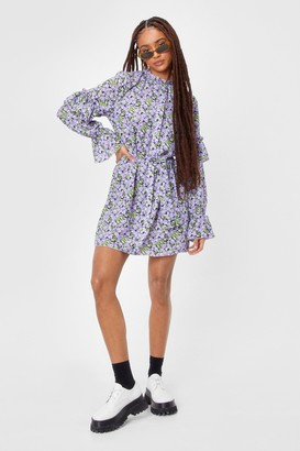 Nasty Gal Womens Leaf Me Out of It Floral Belted Mini Dress - Black - 4