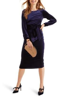 Boden Julianna Velvet Tie Waist Sheath Dress