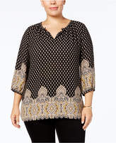 Charter Club Plus Size Mixed-Print Peasant Blouse, Created for Macy's