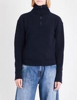 Maison Margiela Ladies Navy Blue Innovative Iconic Frilled High-Neck Wool Cardigan