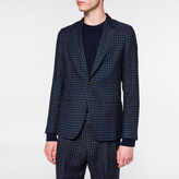 Paul Smith Men's Tailored-Fit Navy Mini Buffalo Check Wool-Linen Blazer