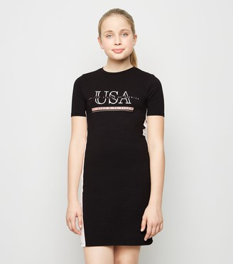New Look Girls Side Tape USA Slogan Dress