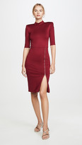 Alice + Olivia Inka Straight Shoulder Mock Neck Slit Mini Dress