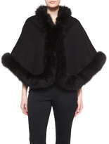 Neiman Marcus Cashmere Fox-Trim Short Cape