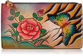 Anuschka Anna By Handpainted Leather Organizer Wallet,Antique Rose Wallet