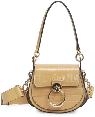 Chloé Tess Croc-Embossed Leather Saddle Bag
