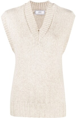 AMI Paris V-neck sleeveless jumper