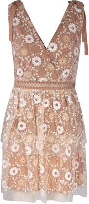 Self-Portrait Flower Sequin Tiered Midi Dress