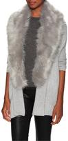 Faux Fur Trim Ribbed Cardigan